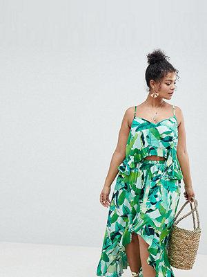 ASOS Curve ASOS DESIGN Curve Tropic Palm Dipped Hem Beach Co-Ord Skirt - Tropic palm