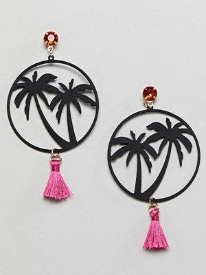 ASOS örhängen DESIGN Miami Nights Hoop And Tassel Earrings