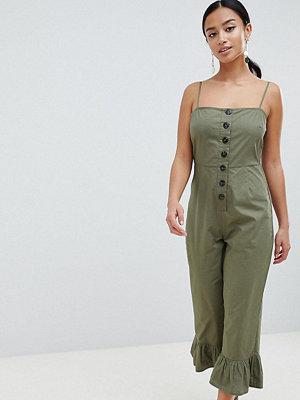 ASOS Petite ASOS DESIGN Petite cotton frill hem jumpsuit with square neck and button detail - Khaki