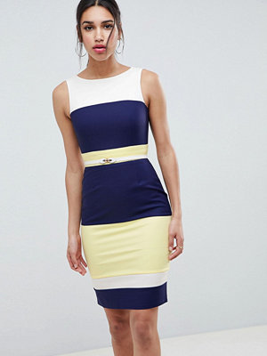 Paper Dolls Navy Panel Dress - Navy lemon cream