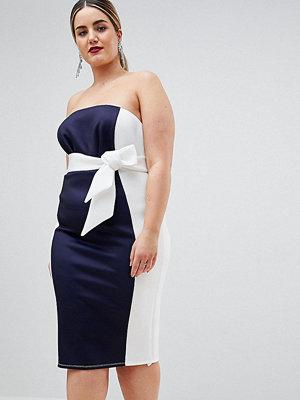 ASOS Curve ASOS DESIGN Curve colour block bandeau scuba midi dress