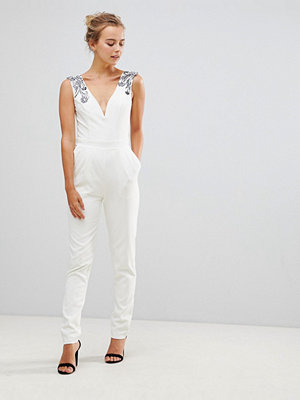 Little Mistress Tailored Jumpsuit With Embellished Detail