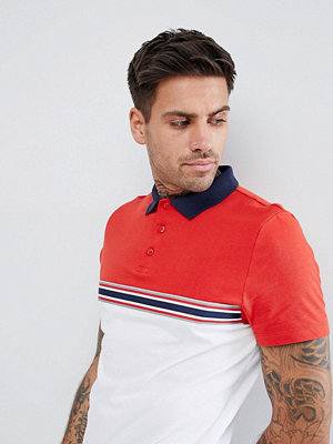 ASOS DESIGN polo shirt with contrast taping and panel