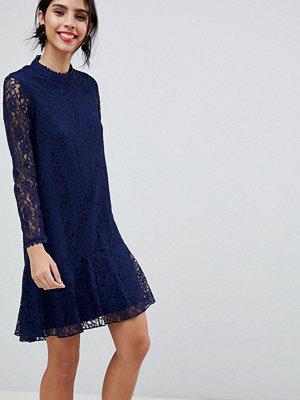 Little Mistress Lace Shift Dress With Fluted Hem - Navy