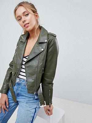 Parisian Faux Leather Jacket - Khaki