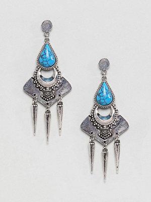 ASOS örhängen DESIGN Faux Turquoise Engraved Plate Earrings