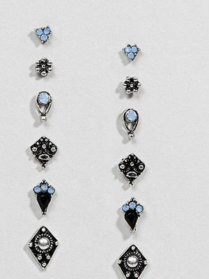 ASOS örhängen DESIGN Pack Of 6 Burnished Boho Stud Earrings - Burnished silver