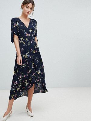 Oasis Floral Print Ruffle Hem Wrap Midi Dress - Multi blue