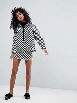 Monki Checker Board Skirt - Black white check