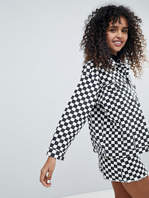 Monki Checker Board Denim Jacket - Black white checks