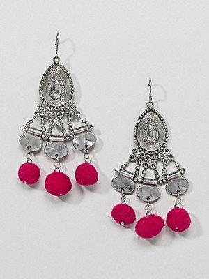 ASOS örhängen DESIGN Multicolour Pom And Engraved Drop Earrings