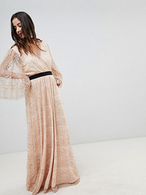 Y.a.s All Over Lace Wrap Maxi Dress - Rose