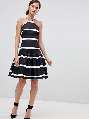 ASOS DESIGN stripe scuba drop waist midi dress
