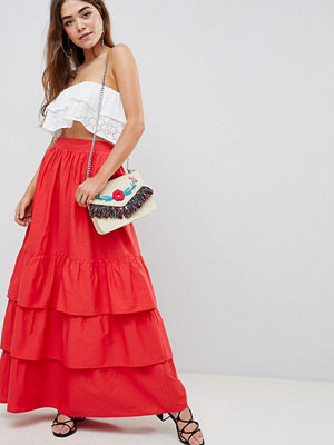 ASOS DESIGN tiered cotton maxi skirt