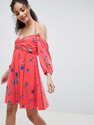 ASOS DESIGN bardot sundress with bubble sleeves in floral print