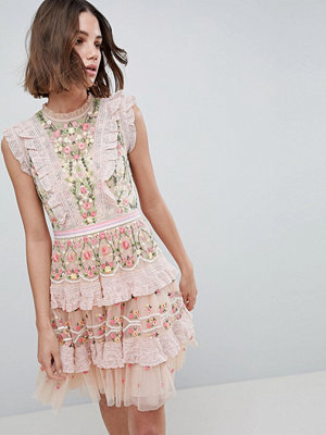 Needle & Thread High Neck Layered Mini Dress With Embroidery - Petal pink