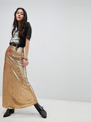 Native Rose Maxi Skirt In Sequin - Burnt gold