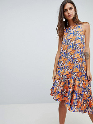 Y.a.s Floral Print Asymetric Dress With Ruffle Hem