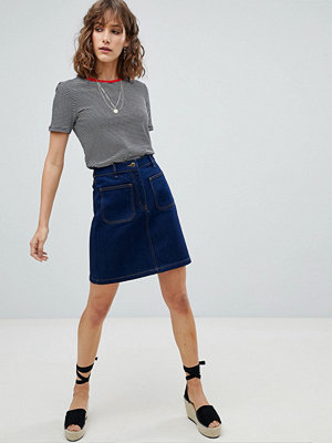 Warehouse Patch Pocket Denim Skirt - Mid wash