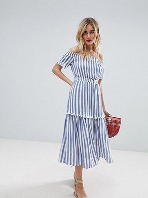 Warehouse Off The Shoulder Bardot Stripe Midi Dress