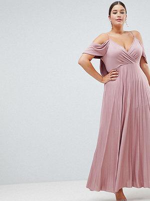 ASOS Curve ASOS DESIGN Curve cold shoulder cowl back pleated maxi dress