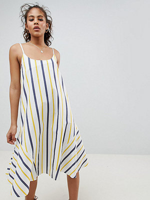 Asos Tall ASOS DESIGN Tall Stripe Swing Trapeze Midi Sundress With Lace Up Back