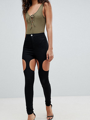 Asos Tall ASOS DESIGN Tall Rivington High Waisted Jeggings With Suspender Detail In Clean Black - Clean black