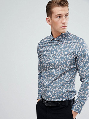Skjortor - MOSS BROS Moss London Extra Slim Shirt In Blue With Floral Print