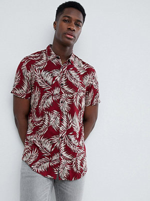 Skjortor - New Look Shirt In Regular Fit With Feather Print In Burgundy