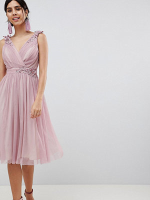 Little Mistress Blush Mesh Wrap Front Midi Dress - Blush