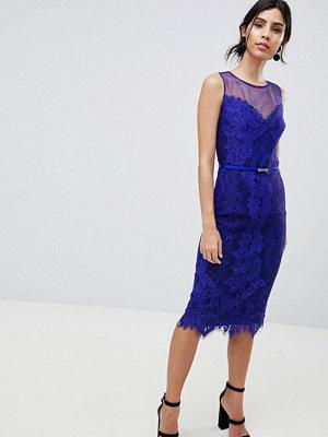 Little Mistress Lace Bodycon Pencil Dress - Cobalt