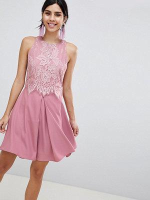 Little Mistress Lace Skater Dress - Blush