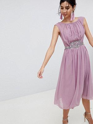 Little Mistress Jewel Trim Maxi Dress - Rose