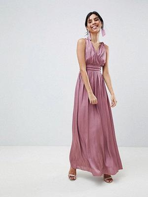 Little Mistress Satin Maxi Dress With Open Back - Rose