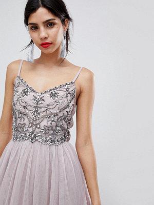 Little Mistress Cami Mesh Midi Dress With Embellished Detail - Mink