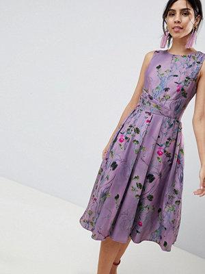 Little Mistress Lavender Print Midi Skater Dress - Lavender
