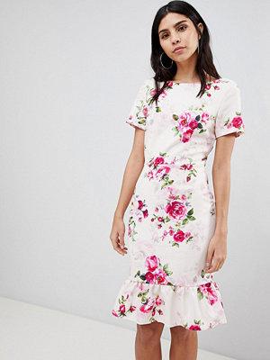 Paper Dolls Frill Hem Floral Bodycon Dress - Print