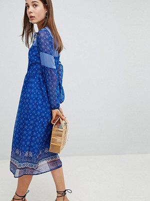 New Look Border Print Midi Dress - Blue pattern