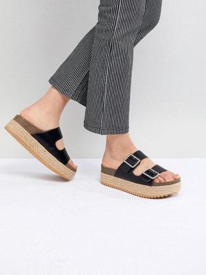 Pull&Bear flatform double buckle sandal in black