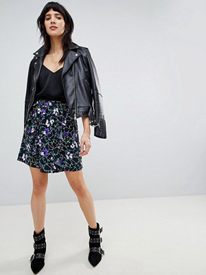 Vero Moda graphic floral skirt - Night sky