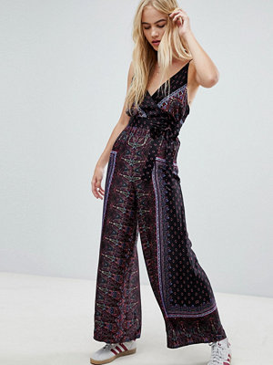 Free People Cabbage Rose wrap front printed jumpsuit