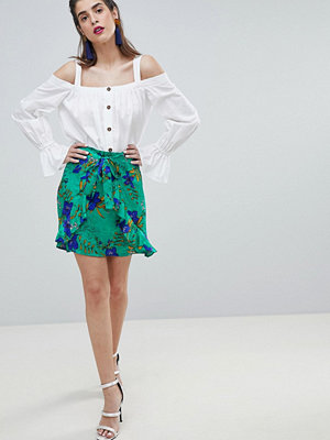River Island Floral Print Ruffle Front Wrap Skirt