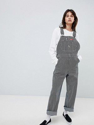 Dickies Boyfriend Dungarees With Small Patch Logo - Stripe