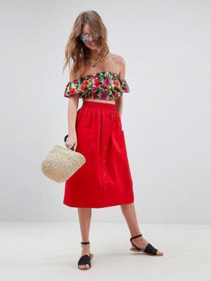 ASOS DESIGN cotton midi skirt with button front