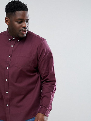 ASOS DESIGN Plus Stretch Regular Fit Oxford Shirt In Burgundy - Burgundy
