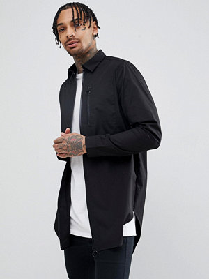 ASOS DESIGN Longline Shirt With Taped Zips