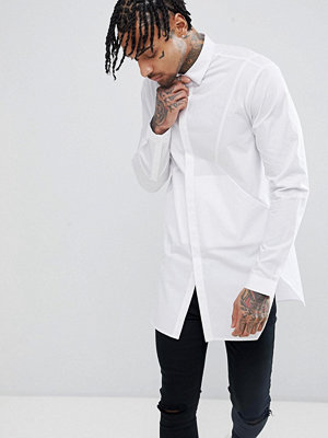 ASOS DESIGN Regular Fit Longline Shirt With Panels And Side Pockets