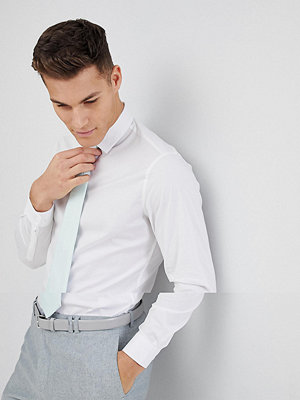 ASOS DESIGN Wedding Slim White Shirt And Textured Mint Tie Save