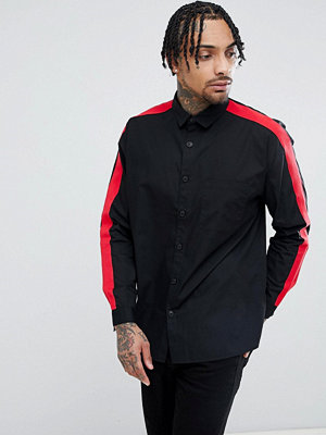 ASOS DESIGN regular fit shirt with tape detail in black - Black