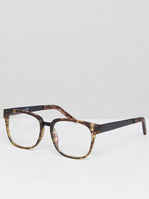 Solglasögon - River Island Square Glasses With Clear Lens In Green Tort